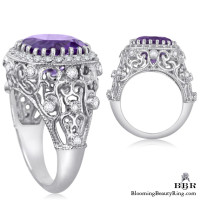 Antique Scroll Designed Purple Amethyst and Diamond Gemstone Ring