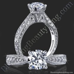.35 ctw. Artistically Designed Millegrain and Engraved Diamond Engagement Ring