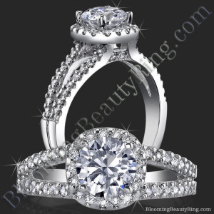 Art-Nouveau 4 Prong Split Shank Halo Setting with Pave Peekaboo Diamonds – bbr424