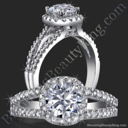 .50 ctw. Channel Stepped Halo Split Shank Engagement Ring