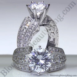 Artisan Etched Trinity Diamond Shank Engagement Ring