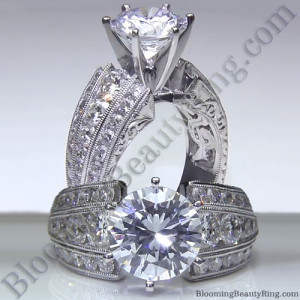 Artisan Etched Trinity Diamond Euroshank Engagement Ring – bbr505