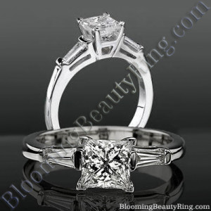 4 Prong 3 Stone Princess Diamond Setting with 2 Baguette Side Diamonds – bbrnw2142