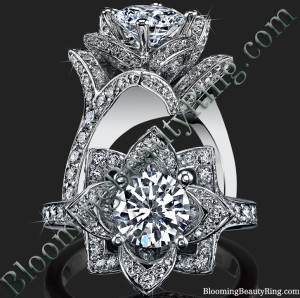 Beautiful Petra 1.58 ctw. Rose Flower Diamond Engagement Ring – bbr607