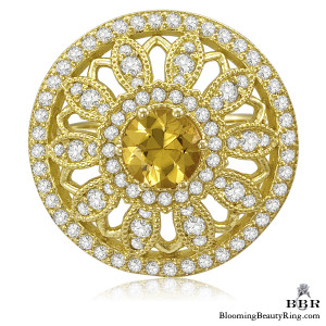Brilliant Yellow Sapphire and Diamond Sunflower Motif Gemstone Ring – jtr190