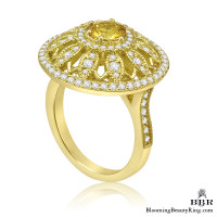 Brilliant Yellow Sapphire and Diamond Sunflower Motif Gemstone Ring