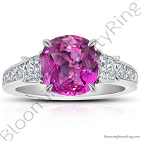 6.0 ctw. Cushion Purplish Pink Sapphire and Princess Diamond Gemstone Ring