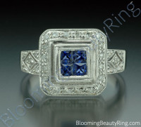 .57 ctw. Diamond and Blue Sapphire Double Square Top Ring