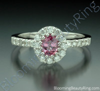 .89 ctw. Diamond and Oval Pink Halo Sapphire Ring