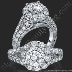 Diamond Go Round Halo Split Shank Engagement Ring
