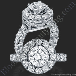 Diamonds and Flowing Lace Engagement Ring