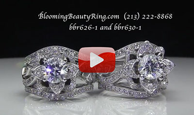 Compare the Large and Original Double Band Lotus Engagement Rings Side by Side.