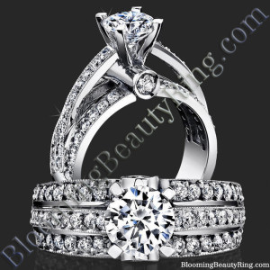 Emerging Pave Center Band with Connecting Round Bar Diamond Engagement Ring – bbr6360