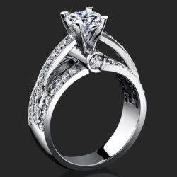 Emerging Pave Center Band with Connecting Round Bar Diamond Engagement Ring - bbr6360