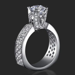 Enhanced Tiffany Style High Mount Pave Diamond Engagement Ring