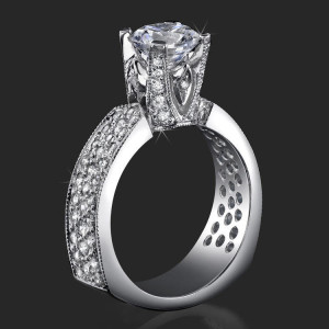 Enhanced Tiffany Style High Mount Pave Diamond Engagement Ring – bbr222