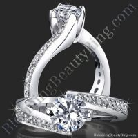 Round Spiral European Style Band With Curved Ribbon Of Love Twist Engagement Mounting