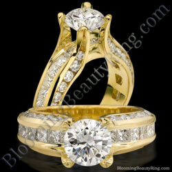 Fluid Round and Princess Channel Set Curved 4 Prong Diamond Engagement Ring - bbr393