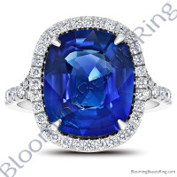 7.94ctw. Halo Split Shank Blue Cushion Sapphire and Diamond Ring