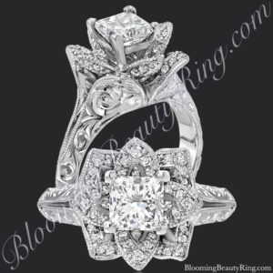 Hand Engraved 8 Petal .58 ct. Diamond Princess Lotus Flower Ring – bbr588-2p