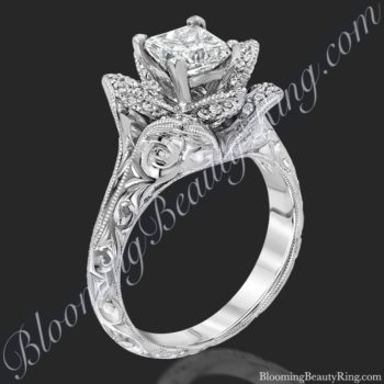 Hand Engraved Princess Lotus Flower Ring