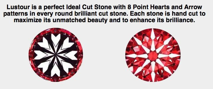 A Lustour Diamond is always cut to a hearts and arrows pattern