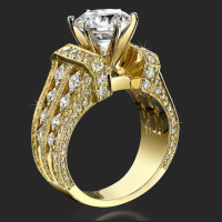 Immense Raised Milgrain Edged Princess and Round Diamond Engagement Ring