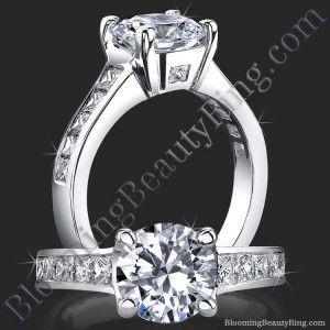 Invisible Channel Set Princess Diamond Ring Wide Band with Hidden Square Diamonds – bbr422