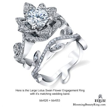 The Large Ring and Small Band Lotus Leafy 1.80 ctw. Diamond Engagement Flower Ring Set