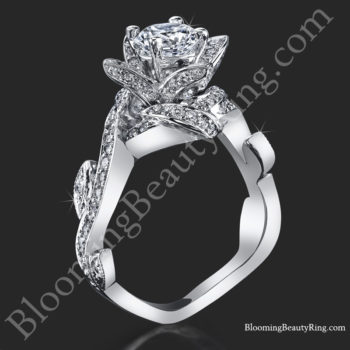 Lotus Ring with Leaves .90 ctw. Diamond Flower Ring