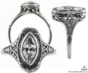 mq003bbr | Antique Filigree Ring | for a .90ct. to 1.05ct. marquise stone | Swirled Pattern Frame