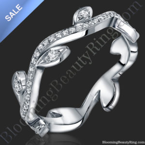 ON SALE! The Lotus Leafy Diamond Wedding Band 18K White Gold – bbr653sl
