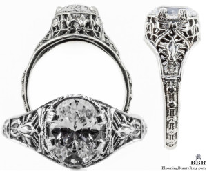 ov015bbr | Antique Filigree Ring | for a 1.95ct. to 2.05ct. oval stone | Bow and Serpentine
