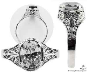 ov039bbr | Antique Filigree Ring | for a 1.40ct. to 1.50ct. oval stone | Ornate Design