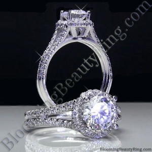 Pave Halo Engagement Ring with Open Bridge Design – bbr496-1