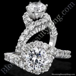 1.25 ctw. Hook and Swirl Tiffany Style Diamond Engagement Ring - bbr387