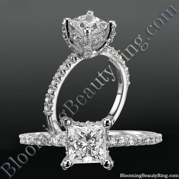 Petite diamond encrusted engagement ring