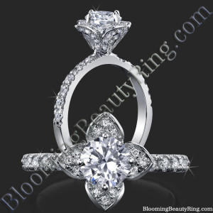 Petite Tulip Style Flower Ring Paved with Encrusted Diamonds – bbr2531