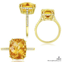 Petite Yellow Orange Madeira Diamond Engagement Ring