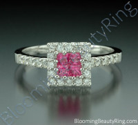 .76 ctw. Invisible Set with 4 Pink Sapphires and Diamond Ring