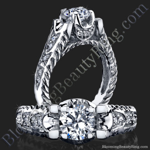 Rope Style Shank Engagement Ring with Diamond Accented U Prongs – bbr823
