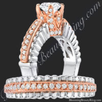 .75 ctw. Two Toned White and Rose Gold Unique Diamond Engagement Ring Set<br>$3900
