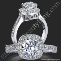 Just Her Style Round Halo Ring Micropave Diamonds Mill Grain Edges