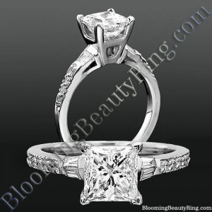 Round Pave and Channel Set Baguette Diamond Engagement Ring – bbrnw2210