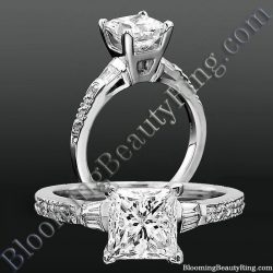 Round Pave and Channel Set Baguette Diamond Engagement Ring bbrnw2210