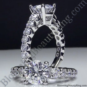 Shared Prong Antique Style Engagement Ring with Large Graduated Diamonds – bbr593