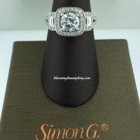 Simon G 3 Stone Diamond Halo Engagement Ring - TR446