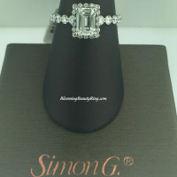 Simon G Contemporary Emerald Halo Engagement Ring - MR2088