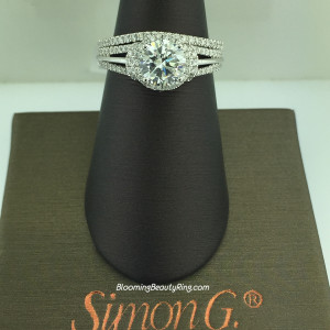 Simon G Diamond Hoop to Halo Wedding Ring Set – NR434