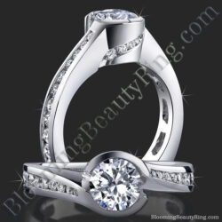 .90 ctw. Channel Set Flush Style 4 Prong Diamond Engagement Ring - bbr432